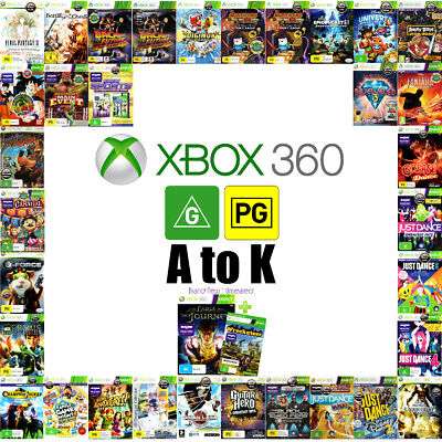 💚 Microsoft XBOX 360 ●●  G & PG Rated Game TITLES A to K ●● Your Choice 18/06