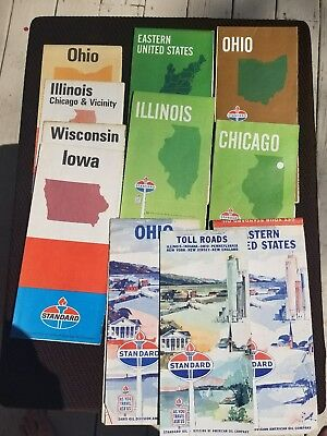 Vintage lot of 11 Gas & Oil Road Maps Standard 1965 1969 1971 midwest toll roads