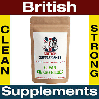 Clean Ginkgo Biloba Capsules 10,000mg Glycosides 48mg Strong 1 Month Supply UK