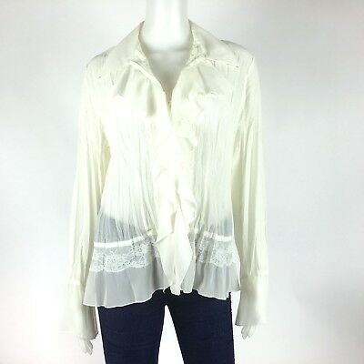 Elementz Women Size M Off White Ruffled Long Sleeve Button Front Sheer Lace Top