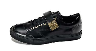 VERSACE COLLECTION MEN'S Leather Low Top Sneakers Shoes Black US 7 IT 40