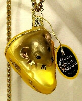 Inge's Christmas Heirlooms Mouse in Cheese  Blown Glass Tree Ornament  Germany