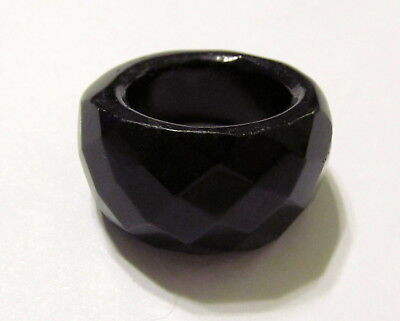 Dynamic Jet Black Faceted Agate SOLID Ring Various Sizes AGAR409