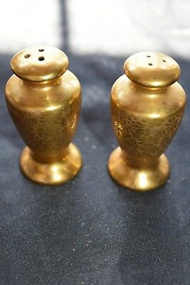 Antique 24K Gold Stouffer Salt and Pepper Shakers