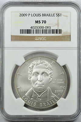 2009-P Louis Braille commemorative silver dollar coin NGC MS 70