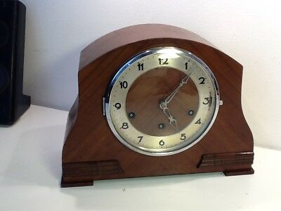 Antique Art Deco Mahogony Cased Westminster Chime Mantel Clock,Guta Movement