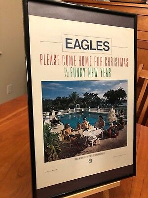 "Big 11X17 Framed Eagles ""please Come Home For Christmas"" Lp Album Cd 45 Promo Ad"