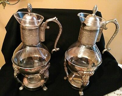 2 Vintage Silver Coffee Pots With Warmers. 1+ Quality Condition