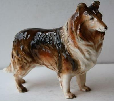 Border Collie Dog Figurine-Ceramic-Porcelain Gloss Finish Standing Figure-Beauty