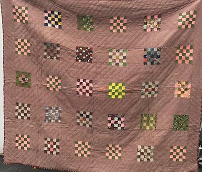 "POSTAGE STAMP 25 PATCH QUILT   LANCASTER COUNTY PA c.1880's       74"" x 66"""
