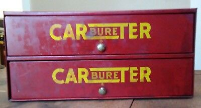 Vintage Carter Carburetor  Parts Cabinet  with carb parts Red w/ Yellow Pops!