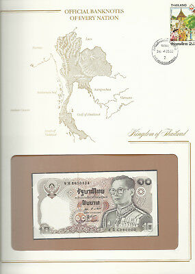 Banknotes of Every Nation Thailand 1980 10 Baht P 87a.4 UNC sign 55 prefix 9H