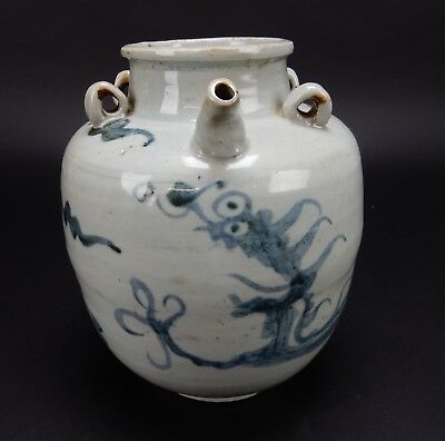 Rare Antique Chinese Ming period  Two Dragon Wine Vessel 10 inches
