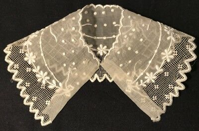 Antique Off-white Delicate Swiss Appenzel Embroider Child Doll Unfinished Collar