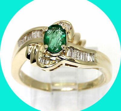 Diamond emerald wave ring 14K yellow gold oval brilliant G color baguette .85CT