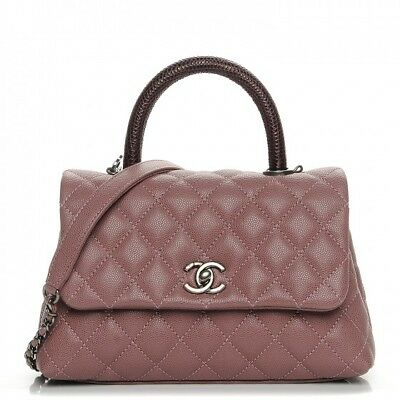 5ba77fc5b839 CHANEL Coco Handle Mini Pink Caviar Burgundy Lizard Handle Ruthenium  Hardware