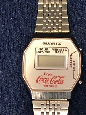 Quartz Digital Coke Coca Cola Soda Pop 25 Year Employee Service Watch Wristwatch