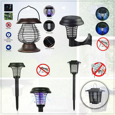 Solar Powered Outdoor LED Bug Zapper Lamp Light Insect Mosquito Killer Garden ee