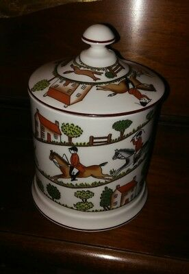 Crown Staffordshire Hunting Scene  Biscuit Barrel - England