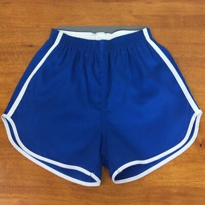 70s Vintage Whang Gym Shorts Cotton Blue XS Small USA Ribbed Unisex Deadstock