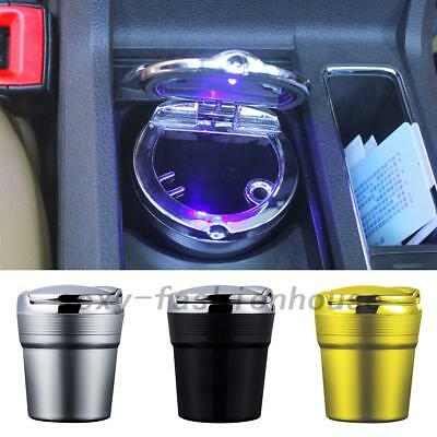 AU Stainless Steel Blue LED Light Home Car Cigarette Ashtray Smokeless Stand