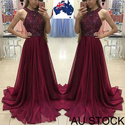 AU Women Formal Wedding Bridesmaid Long Evening Party Prom Gown Cocktail Dress