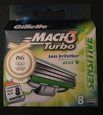 Gillette Mach 3 Turbo Sensitive Razor Blades X 8