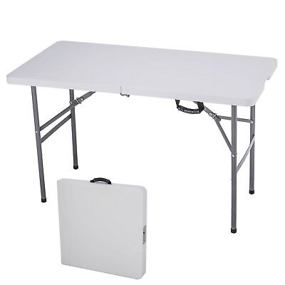 4' Folding Table Portable Plastic Picnic Party Dining Camp Table Indoor Outdoor