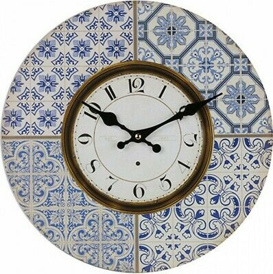 MOROCCAN BLUE & WHITE Wall Clock Wall Decor Hamptons Style French Large/Small