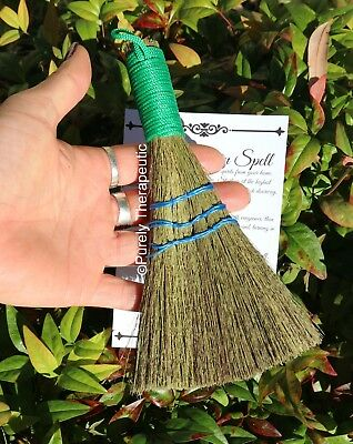 BESOM ALTAR BROOM SMUDGING CLEANSING HEATHER Wicca Witch Pagan Ritual Gothic