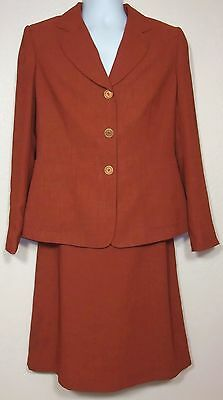 Vintage EMILY size 10 RUST SUIT with SKIRT, Fine tailoring, Linen look VINTAGE