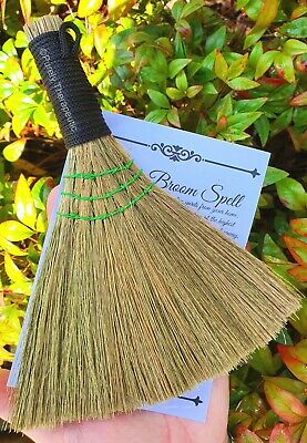 BESOM BROOM SMUDGING CLEANSING HEATHER Wicca Witch Pagan Altar Ritual Gothic