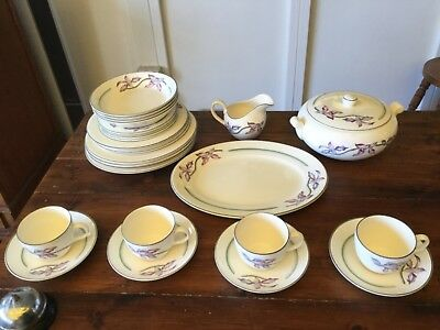 Vintage Booths Made in England ORCHID 28 Piece Dinner Set