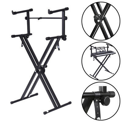 X Frame Dual Keyboard Stand - Double Braced- Portable, Strong & Adjustable