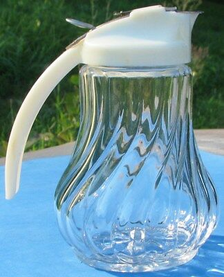 STOHA Made in Germany Glass Swirl Design Syrup Dispenser With Yellow Plastic Lid