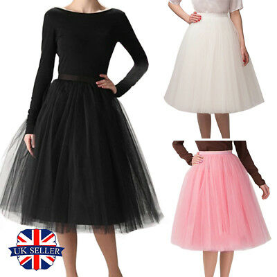 Bridesmaid Tulle Skirt Prom Cocktail Womens Vintage Dress Tutu Petticoat Gown