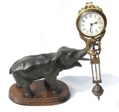 AUTHENTIC Antique 19th Century ELEPHANT Mystery Novelty Swinging Clock JUNGHANS