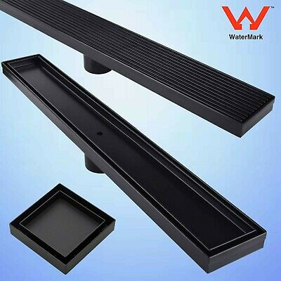 Black Tile Insert Stripe/Square Fence Linear Shower Grate Floor Drain Waste