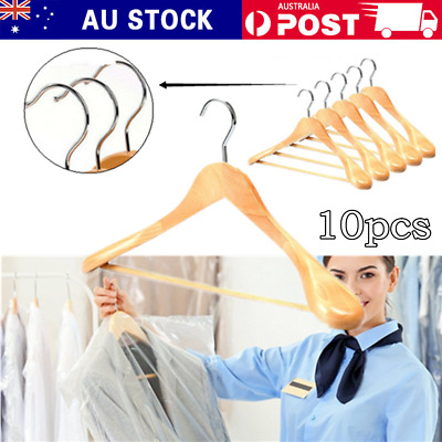 10PCS Wooden Clothes Hangers With Anti-slip Bar Extra-Wide Shoulder Hangers