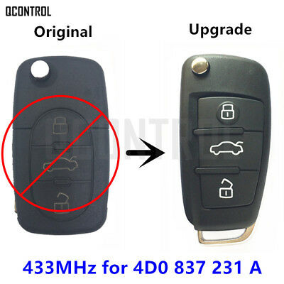 Upgrade Car Remote Control Key Fob for AUDI A3 A4 A6 A8 RS4 TT Allroad Quttro