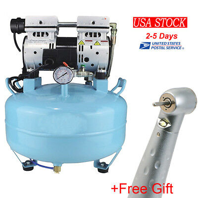 550W Dental Medical Noiseless Oil Free Oilless Air Compressor 30L Tank + GIft US