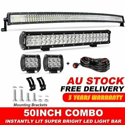 "Tri-row CURVED 50INCH LED LIGHT BAR DRIVING +20"" COMBO CREE +4"" SPOT Free kit"