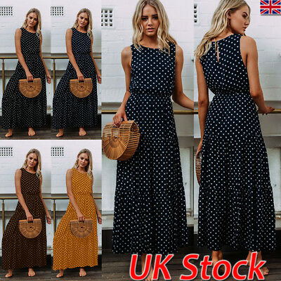 UK Ladies Womens Summer Beach Sleeveless Dot Maxi Dress Holiday Long Sundress