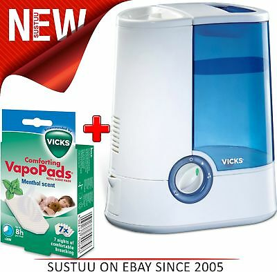 Vicks Warm Mist Humidifier for Cough & Cold Relief + Menthol VapoPads Pack of 7