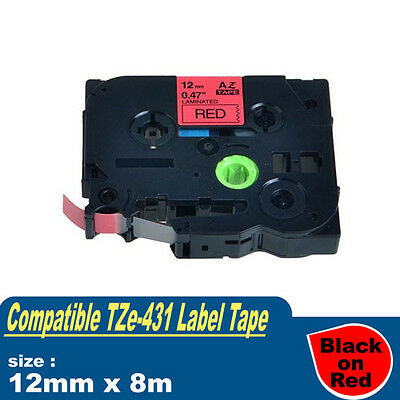 1x Compatible Brother TZE-431 P-Touch Label Tape TZ-431 12mmx8m Black on Red