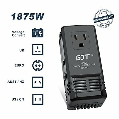 1875W International Power Converter and Adapter Combo, Step Down 240V to 110V