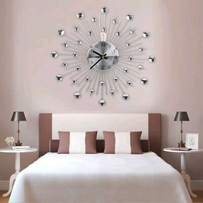 Modern Handcrafted Diamante Beaded Crystal Jeweled Sunburst Silver Wall Clock