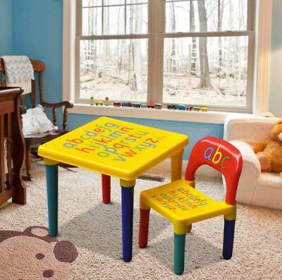 ABC Alphabet Childrens Plastic Table and Chair Set - Kids Toddlers Childs Play