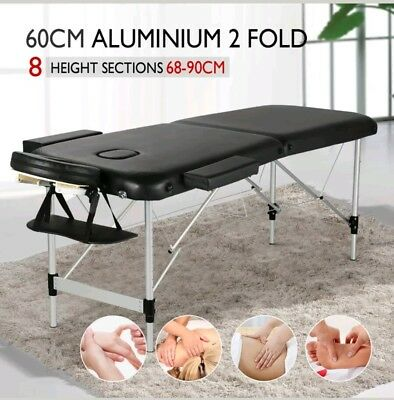 Modern Portable Massage Table Bed Beauty Therapy Couch 2 Section ALU + Carry Bag