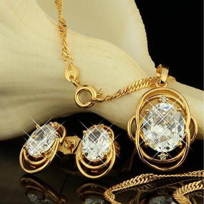 Jewelry Set Necklace Pendant Zirconia Earrings White 750 18 kt Gold-Plated S1930
